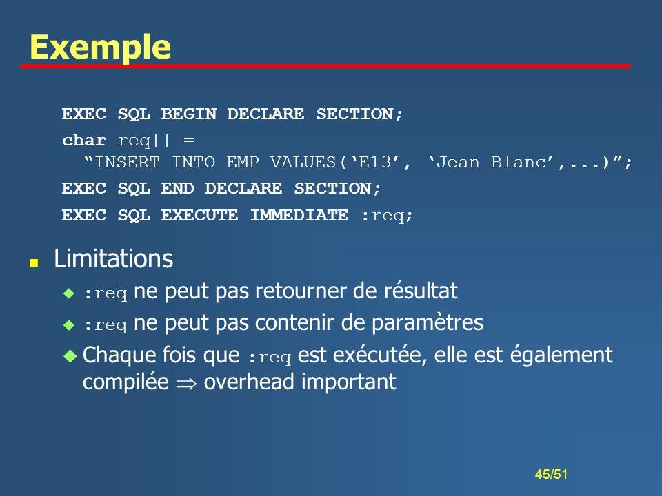 ExempleEXEC SQL BEGIN DECLARE SECTION; char req[] = INSERT INTO EMP VALUES('E13', 'Jean Blanc',...) ;